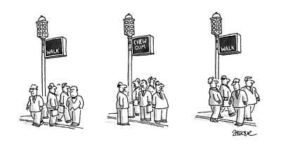 Traffic Light Drawing - New Yorker September 23rd, 1996 by Jack Ziegler