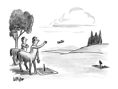 Centaur Drawing - New Yorker September 24th, 1990 by Warren Miller