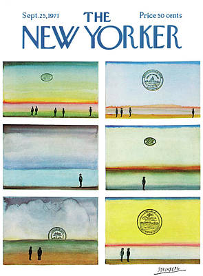 People On The Beach Painting - New Yorker September 25th, 1971 by Saul Steinberg