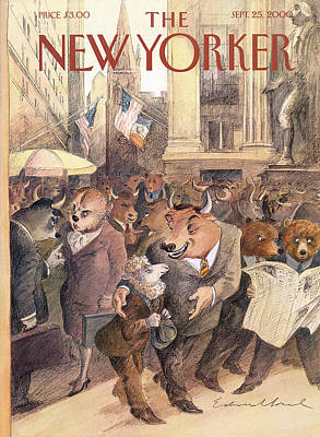 Wall Street Painting - New Yorker September 25th, 2000 by Edward Sorel