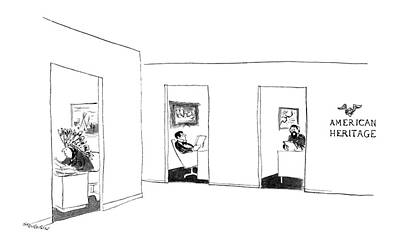 Period Drawing - New Yorker September 26th, 1964 by James Stevenson