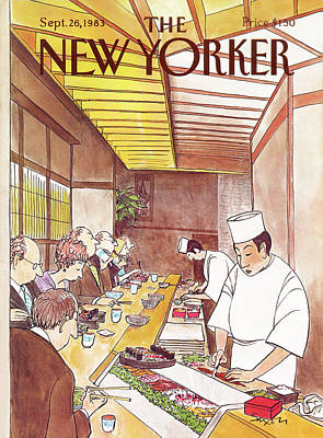 Dinner Painting - New Yorker September 26th, 1983 by Charles Saxon