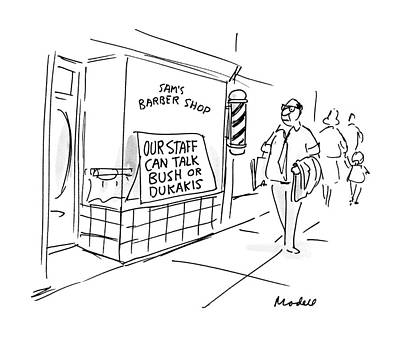 Barbershops Drawing - New Yorker September 26th, 1988 by Frank Modell