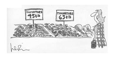 Tomato Drawing - New Yorker September 27th, 1976 by Arnie Levin
