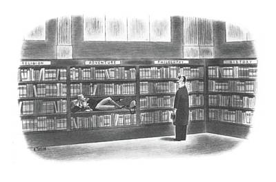 Library Drawing - New Yorker September 28th, 1940 by Richard Taylor