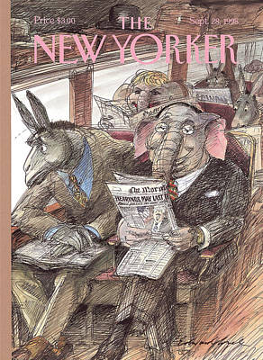 Republican Painting - New Yorker September 28th, 1998 by Edward Sorel
