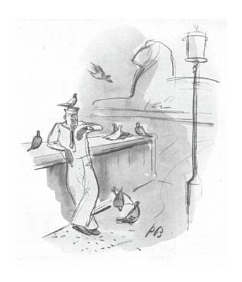 Pigeon Drawing - New Yorker September 2nd, 1944 by Perry Barlow