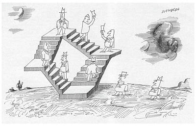Surrealism Drawing - New Yorker September 2nd, 1961 by Saul Steinberg