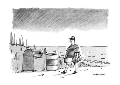 Trash Can Drawing - New Yorker September 2nd, 1991 by Mick Stevens