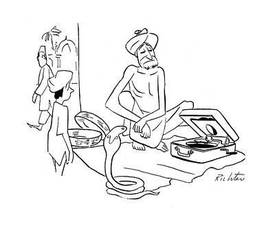Snake Charmer Drawing - New Yorker September 30th, 1944 by Mischa Richter