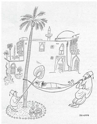 Slave Drawing - New Yorker September 30th, 1950 by Saul Steinberg