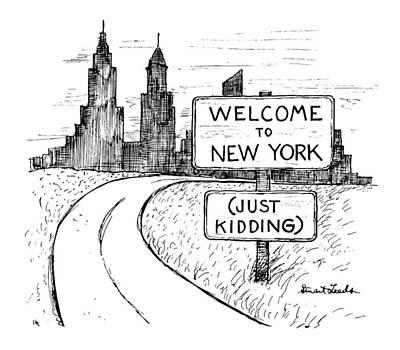Landscape Drawing - New Yorker September 30th, 1991 by Stuart Leeds