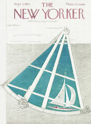 Sailors Painting - New Yorker September 3rd, 1955 by Ilonka Karasz