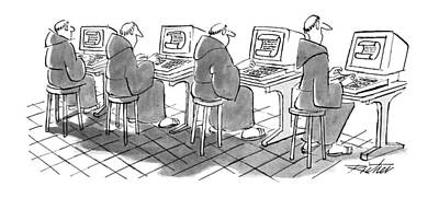 Terminal Drawing - New Yorker September 3rd, 1990 by Mischa Richter