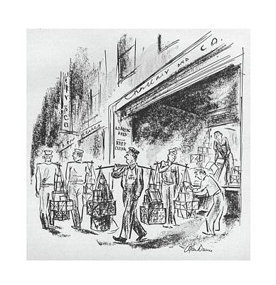 Delivering Drawing - New Yorker September 4th, 1943 by Alan Dunn