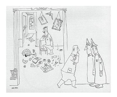 Torn Drawing - New Yorker September 4th, 1943 by Saul Steinberg