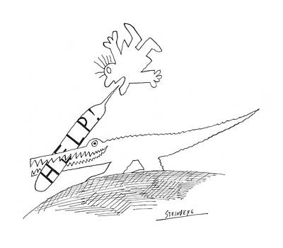 Crocodile Drawing - New Yorker September 5th, 1970 by Saul Steinberg