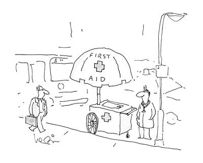 Hot Dog Stand Drawing - New Yorker September 5th, 1988 by Arnie Levin