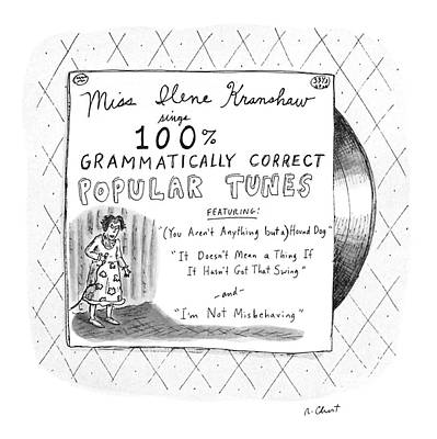 Language Drawing - New Yorker September 5th, 1988 by Roz Chast
