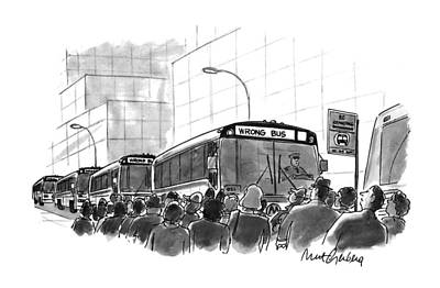 Bus Drawing - New Yorker September 6th, 1993 by Mort Gerberg