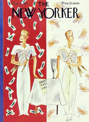 Amateurs Painting - New Yorker September 7 1935 by Constantin Alajalov