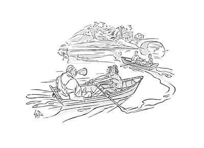 Pond Drawing - New Yorker September 7th, 1940 by George Price
