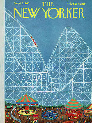 Roller Coaster Painting - New Yorker September 7th, 1963 by Robert Kraus