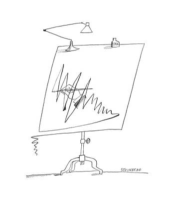 Sketching Drawing - New Yorker September 7th, 1963 by Saul Steinberg