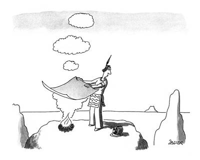 Native Drawing - New Yorker September 7th, 1992 by Jack Ziegler
