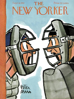 Catcher Painting - New Yorker September 8th, 1951 by Peter Arno