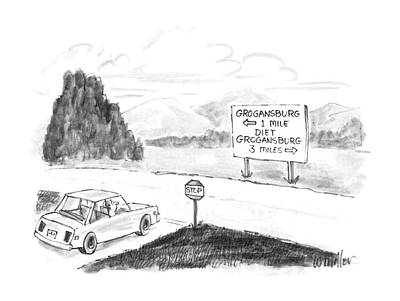 Stop Sign Drawing - New Yorker September 8th, 1986 by Warren Miller