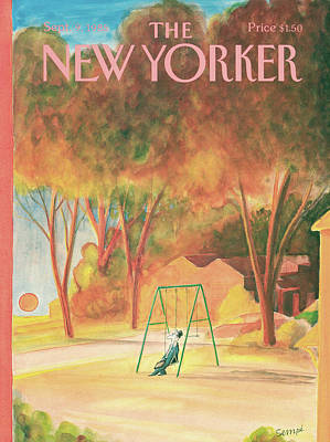 Autumn Painting - New Yorker September 9th, 1985 by Jean-Jacques Sempe