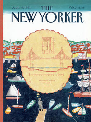 Brooklyn Bridge Painting - New Yorker September 9th, 1991 by Kathy Osborn