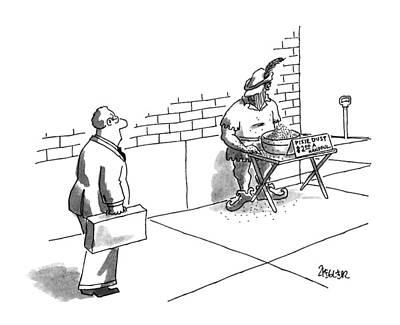 Street Vendor Drawing - New Yorker September 9th, 1996 by Jack Ziegler