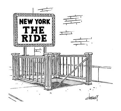 Amusement Park Drawing - New York The Ride by Tom Cheney