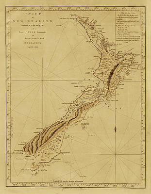 Vintage Map Photograph - New Zealand 1770 by Andrew Fare