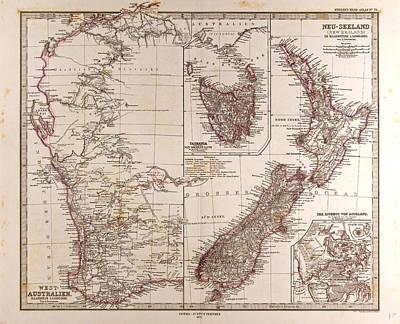 New Zealand Drawing - New Zealand Australia  Gotha Justus Perthes 1872 Atlas by New Zealand School