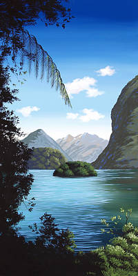 Aotearoa Painting - New Zealand Milford  By Linelle Stacey by Linelle Stacey