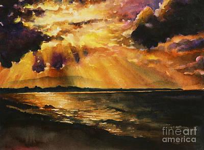 Fine Art Batik Painting - New Zealand Sunset by Ryan Fox