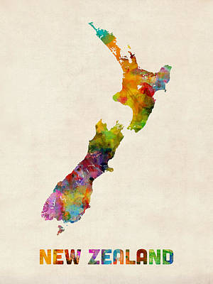 New Zealand Watercolor Map Art Print by Michael Tompsett