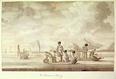 Canoe Photograph - New Zealanders Fishing by British Library