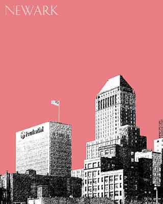 Newark Skyline - Salmon Art Print by DB Artist