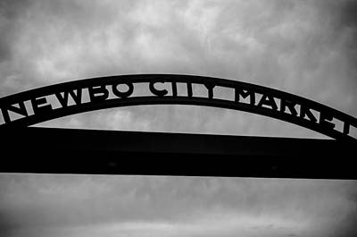 Photograph - Newbo City Market Sign In Black And White by Anthony Doudt