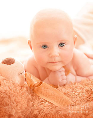 Naked Kids Photograph - Newborn Baby With Soft Toy by Anna Om