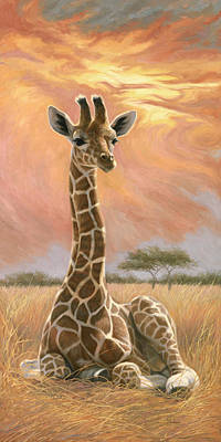 Baby Animal Wall Art - Painting - Newborn Giraffe by Lucie Bilodeau
