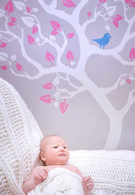 Photograph - Newborn Girl In Cute Baby Room by Anna Om