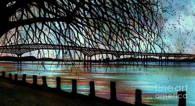Rivers In The Fall Painting - Newburgh - Beacon Bridge Night Sky by Janine Riley