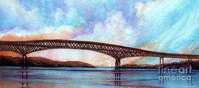 Painting - Newburgh - Beacon Bridge Sky Pano  by Janine Riley