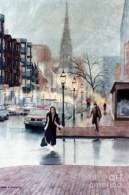 Newbury Street Rain Art Print by Karol Wyckoff