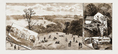 Old Mills Drawing - Newcastle, Uk, 1881 Elswick Park, Sculpture Gallery by Litz Collection